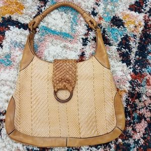Cole Haan Taran Woven Straw Bag w/Leather Trim